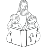 Jesus Reading Bible with Children