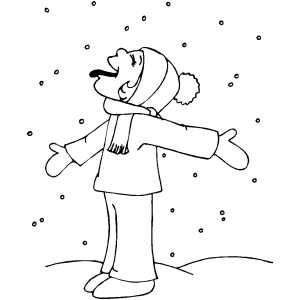 Boy Catching Snowflakes coloring page