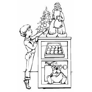 Boy With Christmas Decorations coloring page
