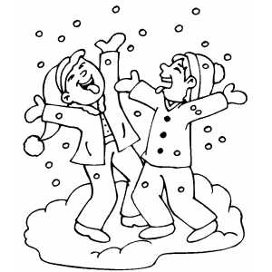 Children Playing in Snow Coloring Page