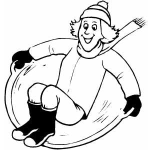 Guy With Scarf Sledding coloring page