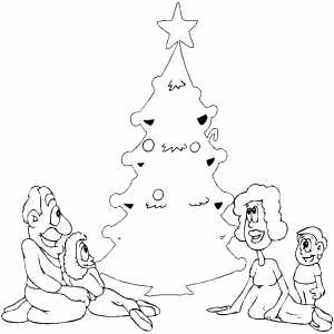 Happy Family Around Tree coloring page