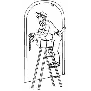 Man Decorating Door With Lights coloring page