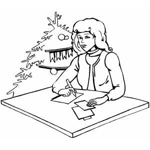 Signing Christmas Cards coloring page