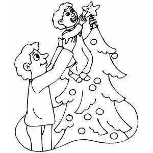 Small Boy Putting Star On Tree coloring page