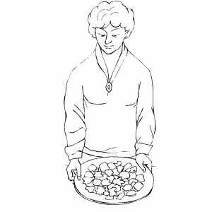 Woman Putting Cookies on Table coloring page