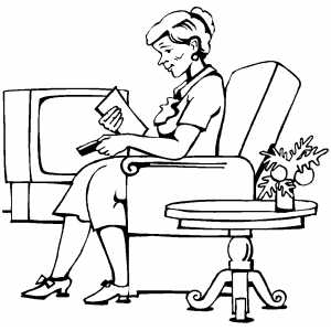 Woman Reading Letter coloring page