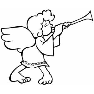 Angel And Horn coloring page
