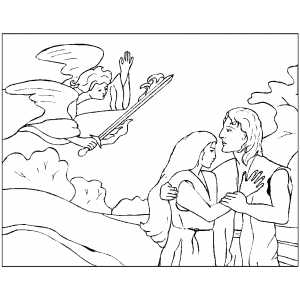 Angel Banishing Adam And Eve From Paradise coloring page