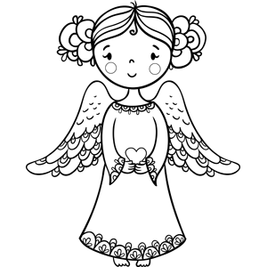 Angel Holding Heart coloring page