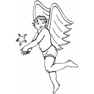 Angel Playing With Star coloring page