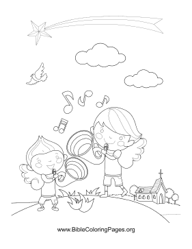 Angels with Horns Vertical coloring page