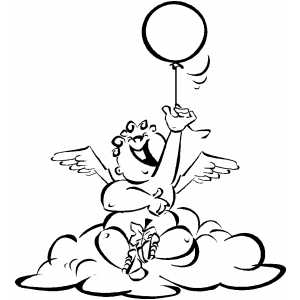 Cherub With Balloon coloring page