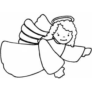 Flying Pointing Angel coloring page