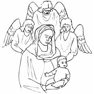 Madonna With Child And Angels coloring page