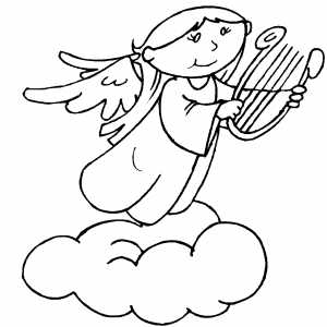 Playing Angel On Cloud coloring page