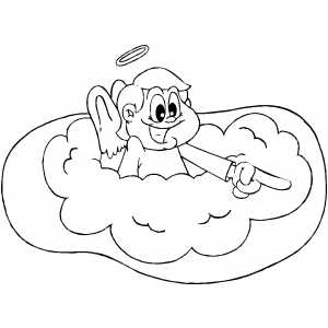 Pointing Angel coloring page