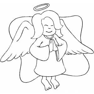 Praying Angel Kid coloring page