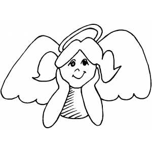 Thinking Angel coloring page