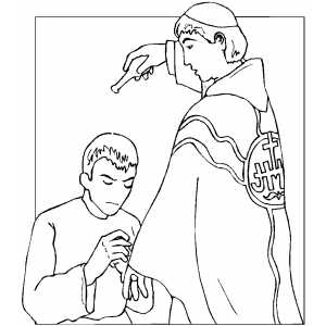 Priest Anointing Man coloring page