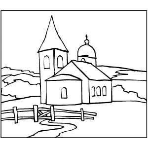 Church With Fence coloring page