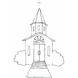 Church With Stairs coloring page