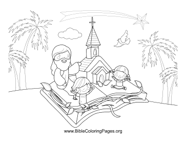 Church in Bible coloring page