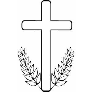 Cross With Branches coloring page