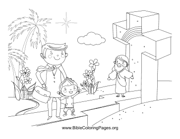 Family Near Cross coloring page