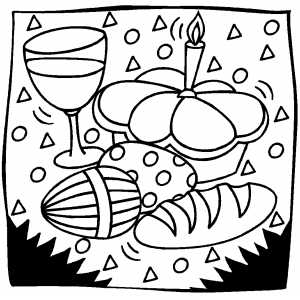 Easter Eggs And Bread coloring page
