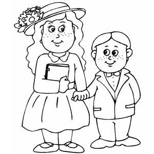 Kids In Easter Clothes coloring page