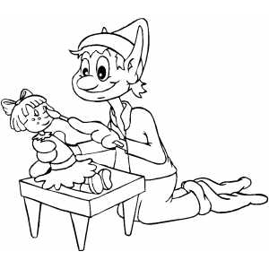 Elf Painting Doll coloring page