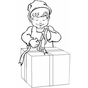 Elf Wrapping gift coloring page
