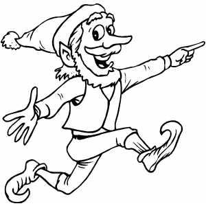 Pointing Elf coloring page