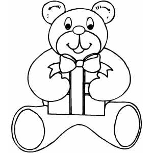 Bear With Gift coloring page