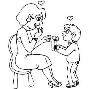 Boy Giving Present To His Mom coloring page