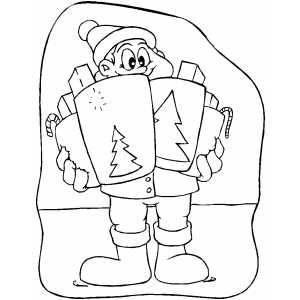 Boy With Christmas Gifts coloring page