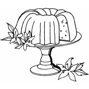 Cake And Flowers coloring page