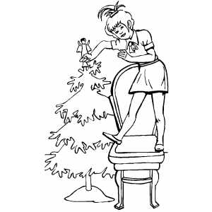 Girl Decoration Tree With Angel coloring page