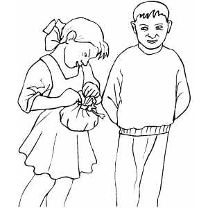 Girl Opening Gift coloring page