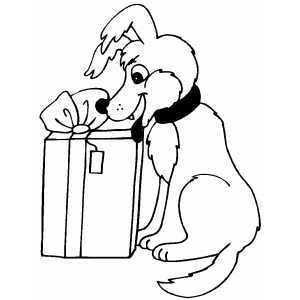 Happy Dog And Gift coloring page