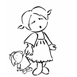 Little Girl With Doll coloring page