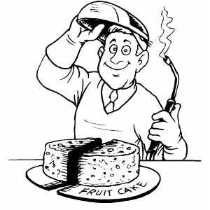 Man Cutting Fruit Cake coloring page
