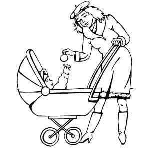 Mom Giving Ornament To Baby coloring page