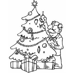Old Man Decorating Tree coloring page