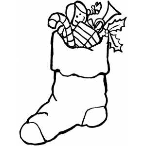 Stocking With Gifts coloring page