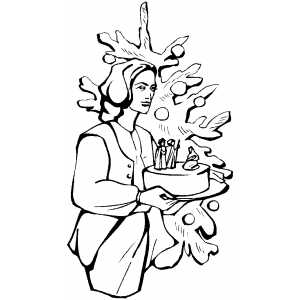Woman With Nativity Scene coloring page
