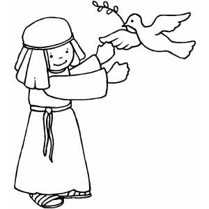 Boy And Dove coloring page