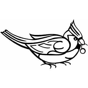 Cardinal Bird With Berry coloring page