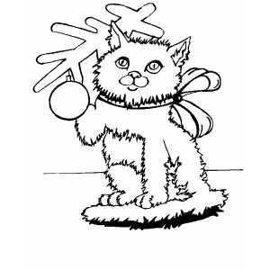 Christmas Cat With Bow coloring page